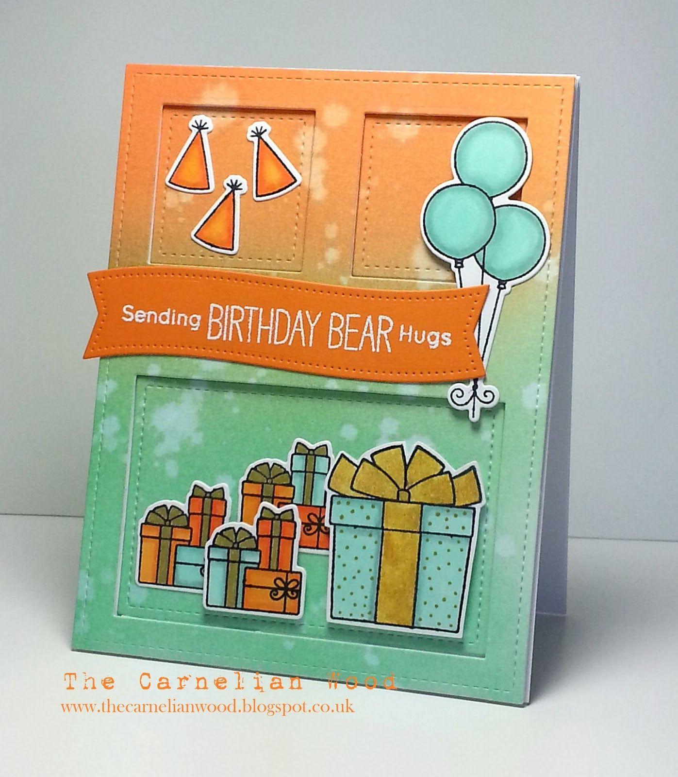 The carnelian wood birthday bear card mft bearthday pinterest