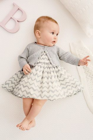 Grey Chevron Prom Dress And Cardigan Set (0-18mths) from Next