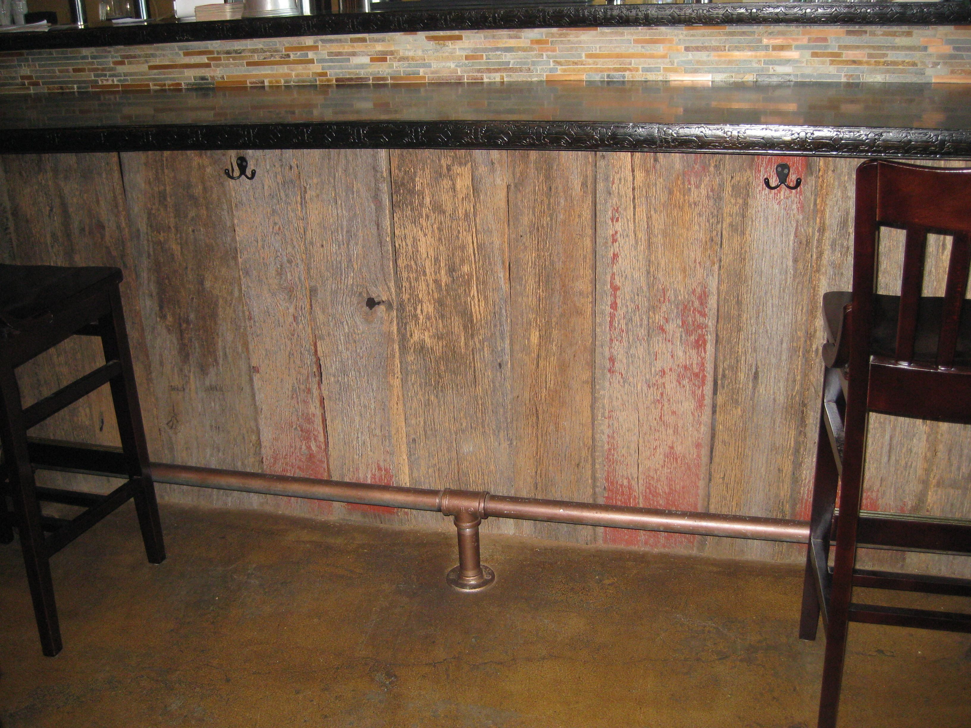 Reclaimed lumber red greyboard barn wood bar facing for Reclaimed decking boards