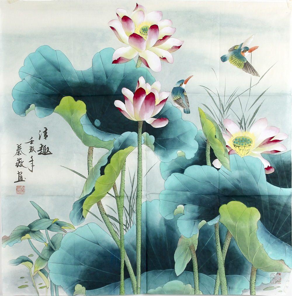 Art Silk Painting Artwork Lotus Flower Painting In 2018 Chinese