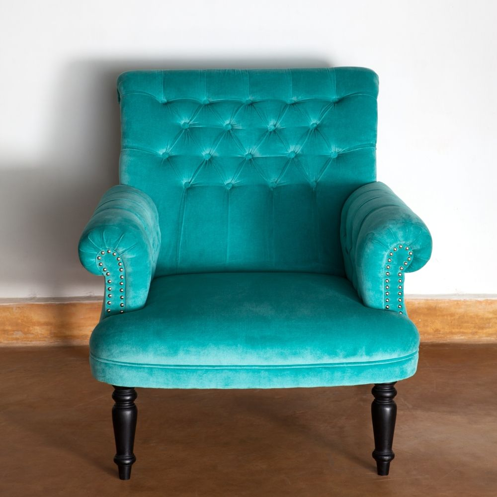 Turquoise Velvet Chair | Ruby Star Traders Furniture Chair Ottoman