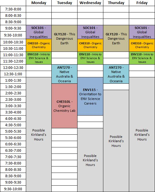 make your college schedule in excel