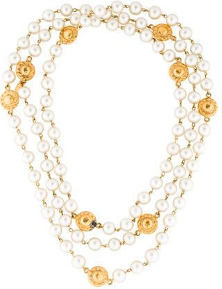 Chanel Faux Pearl and Medallion Necklace