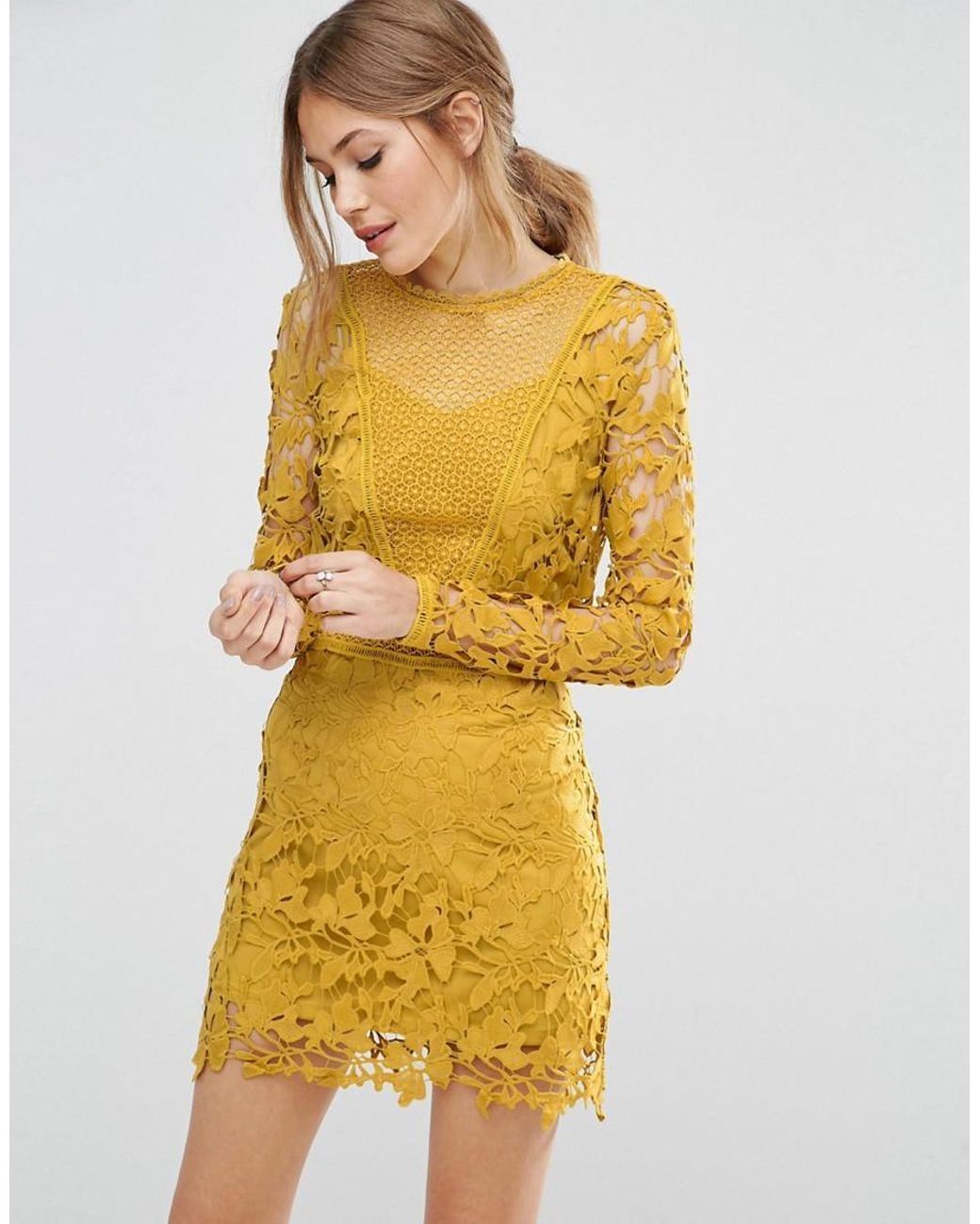 66843fdab47a4 Women s Yellow Mustard Lace Long Sleeve Panelled Shift Dress in 2019 ...
