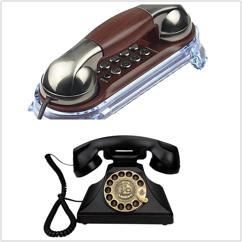 Classic Retro Rotary Dial Telephone Handfree Redial Function For