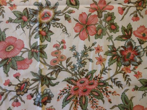 Antique-French-Indienne-Floral-Cotton-Fabric-Passion-Flower-Rose-Tones