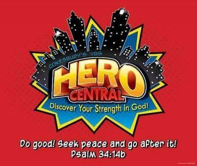 Vacation Bible School 2017 Vbs Hero Central Logo Poster: Discover Your Strength in God!