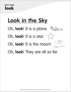 look in the sky sight word 39 look 39 super sight words poem kindergarten tools sight words. Black Bedroom Furniture Sets. Home Design Ideas
