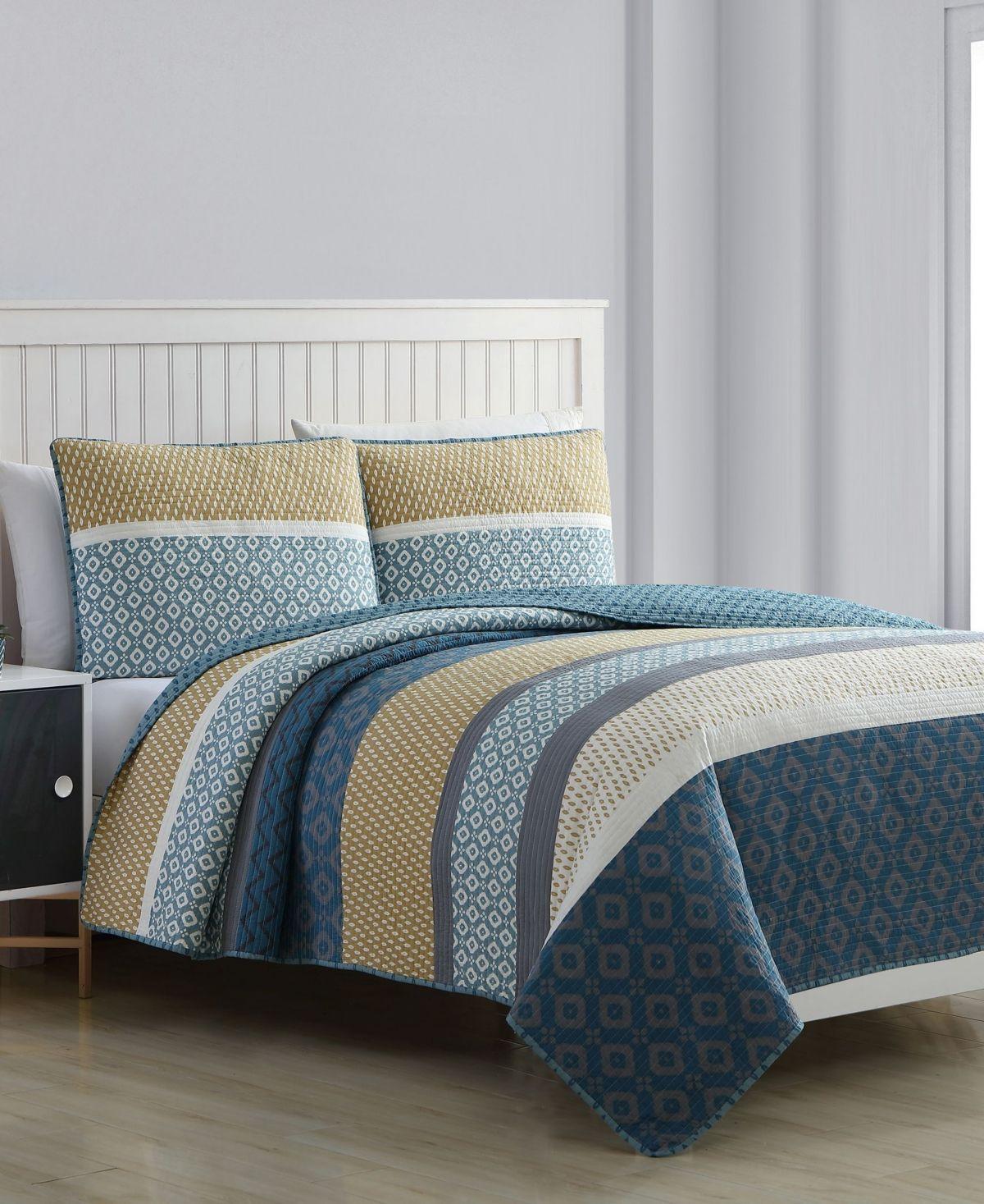 Estate Alexis 3 Piece Quilt Set Full Queen Blue Quilt Sets House Styles Quilt Sets Blue