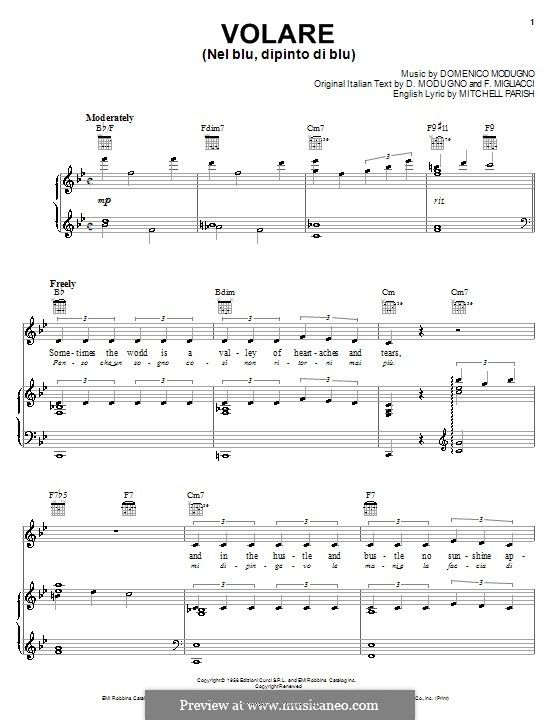 Volare To Fly By D Modugno Sheet Music World Music Music