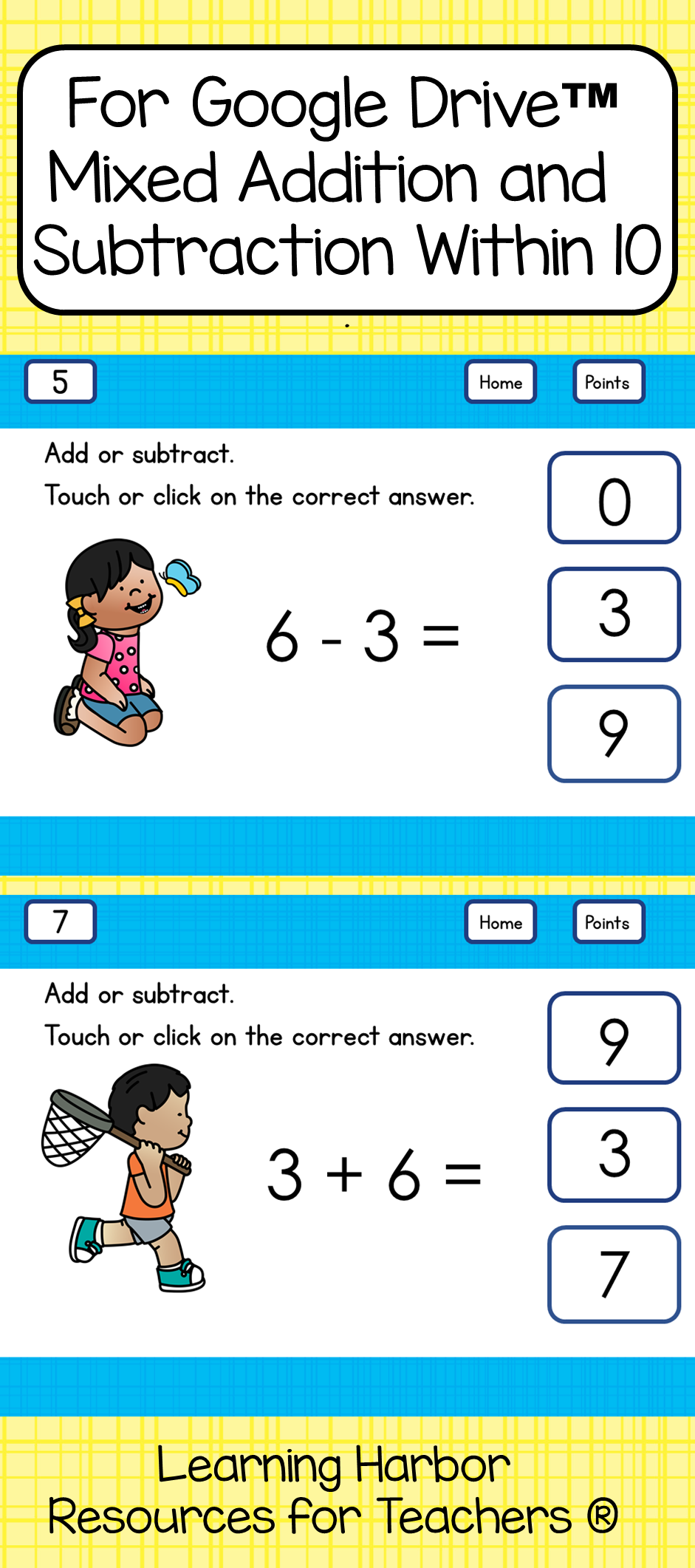 Mixed Addition and Subtraction Within 10 Kids and Butterflies for ...