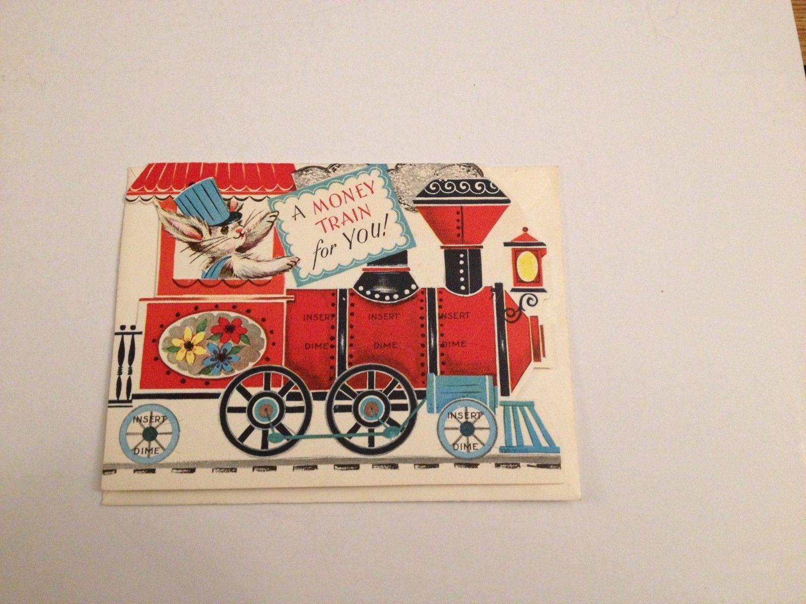 Madeline S Memories Vintage Christmas Cards: Vintage Greeting Card Money Train Coin Holder Dime Bunny
