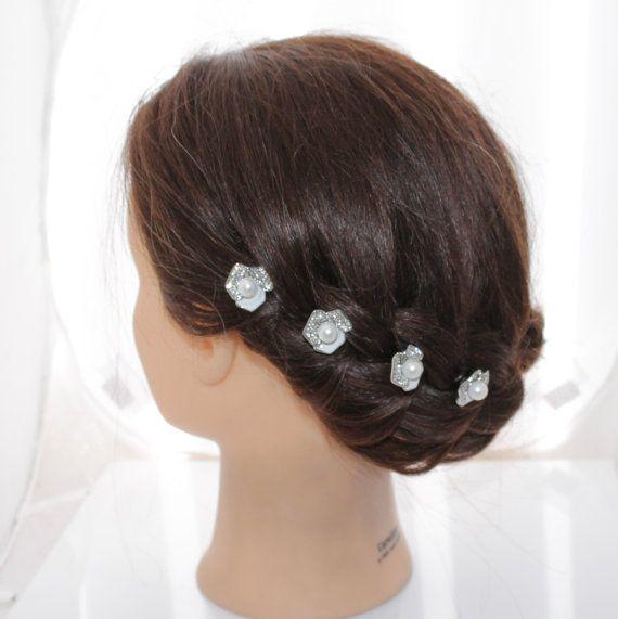 4 PC New Woman's white pearl flower U pin hair folk by JuliasBling