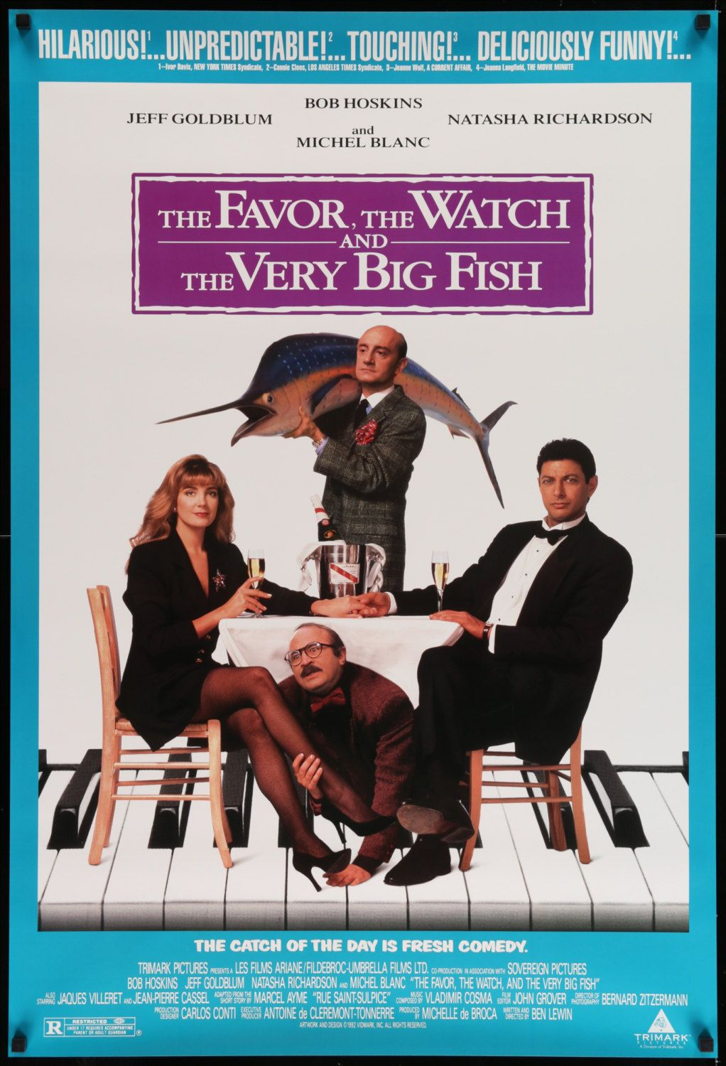 "The Favor, The Watch and the Very Big Fish (1991) This is a vintage, rolled, one-sheet (27""x40"") movie poster from 1991 for The Favor, The Watch and the Very Big Fish.  The film stars Bob Hoskins, Jeff Goldblum, Natasha Richardson, Michel Blanc, Jacques Villeret, and Jean-Pierre Cassel.  Ben Lewin wrote and directed the comedy."