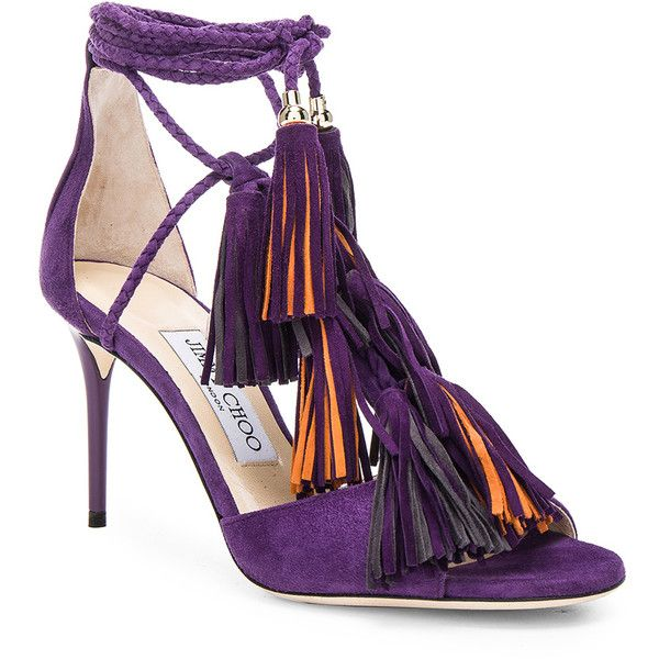 Jimmy Choo Suede Mindy Heels ($1,152) ❤ liked on Polyvore featuring shoes, pumps, jimmy choo shoes, jimmy choo, bohemian shoes, boho chic shoes and purple suede pumps