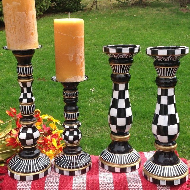 Black And White Whimsical  Hand Painted  Wooden Candle Stick Set