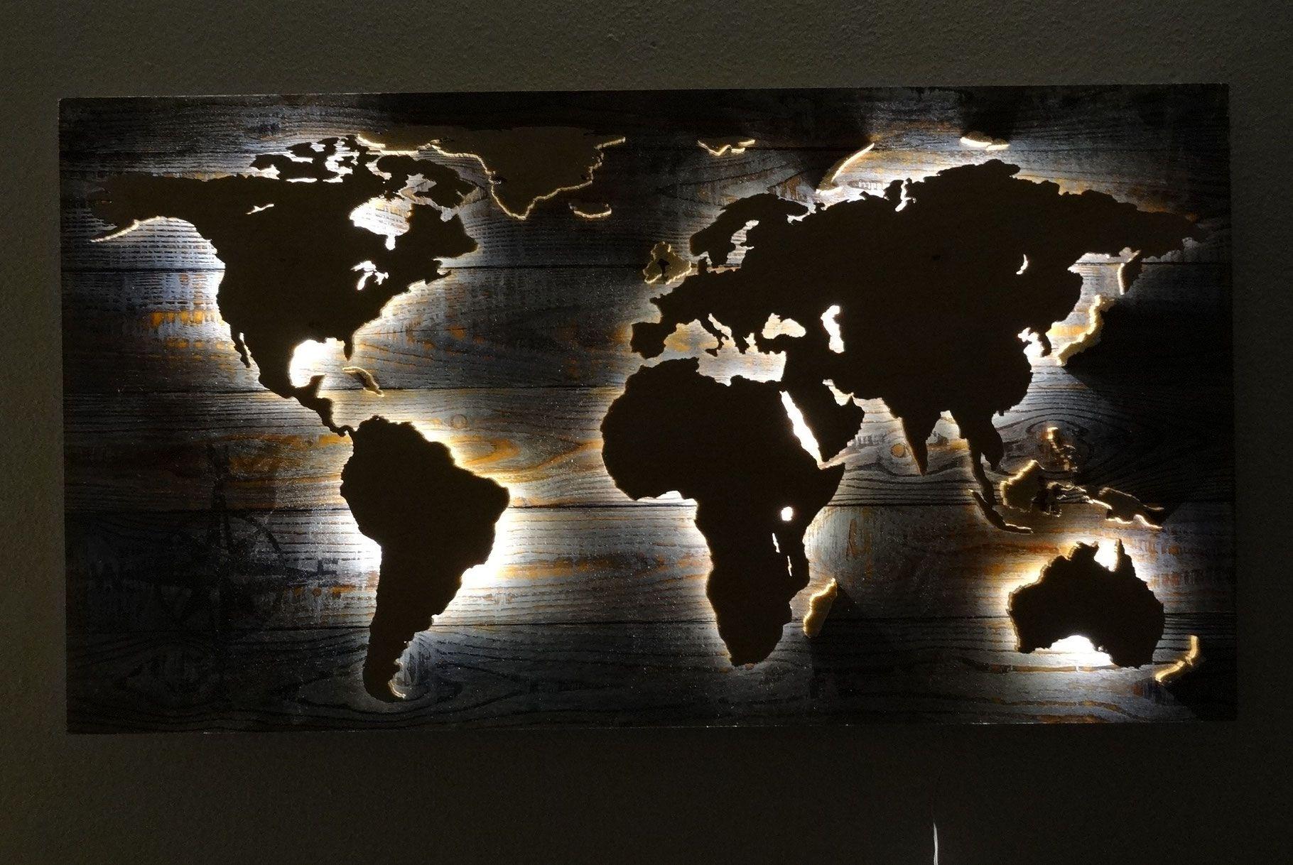 Weltkarte aus Holz Wandbild LED Beleuchtung | Dekoration | Pinterest ...