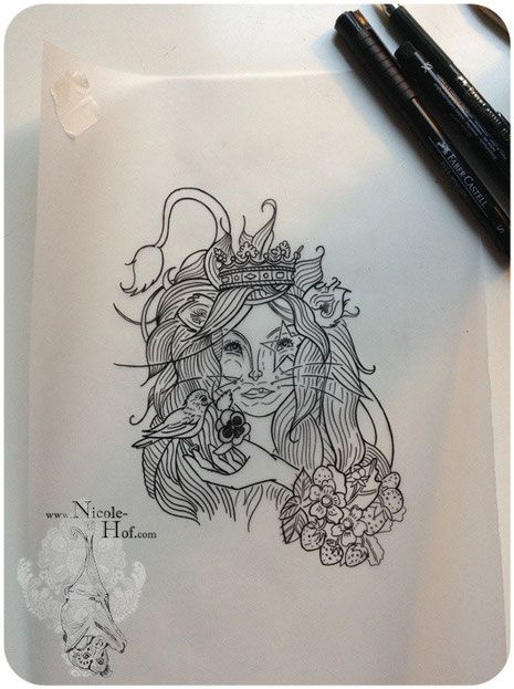 Tattoo#Löwenmädchen#Mädchen#Löwe#Porträt#Nicole Hof#One Tattoo Please#Tattoo Hamburg