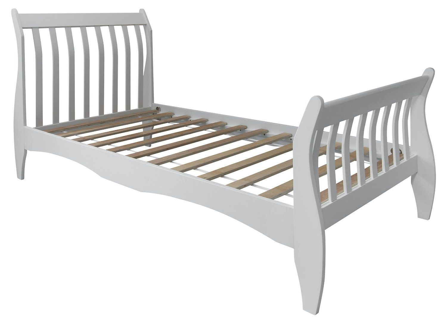 Single bed frame - Single Bed In White 3ft Single Sleigh Wooden Frame Astrid Amazon Co Uk