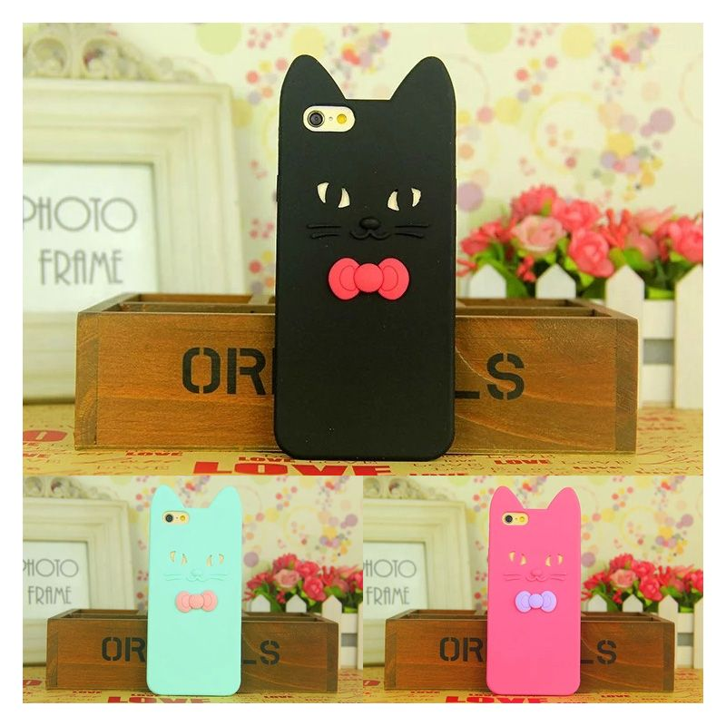 >> Click to Buy << Cute 3D Cartoon Bowknot Cat Phone Case For iPhone 6 6S 6Plus 6S Plus Fashion Soft Silicone Gel Shockproof Back Cover Capa Coque #Affiliate