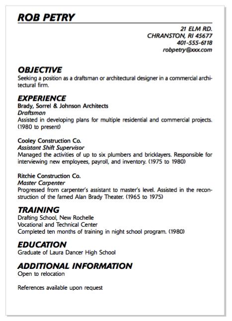 Example Of Draftsman Resume Examples Resume Cv Resume Examples Resume Resume Cv