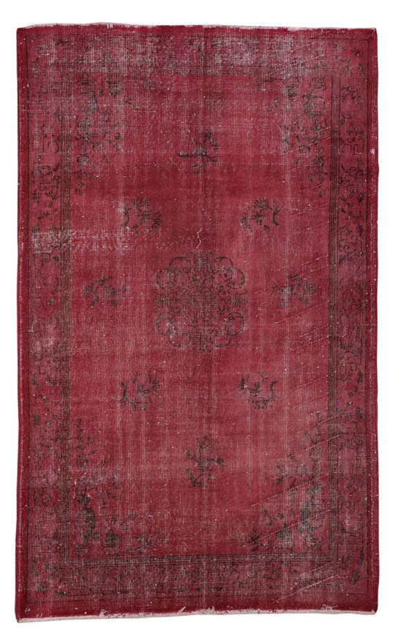 9x6 Overdyed Carpet Burgundy Red Carpet Vintage Turkish Carpet