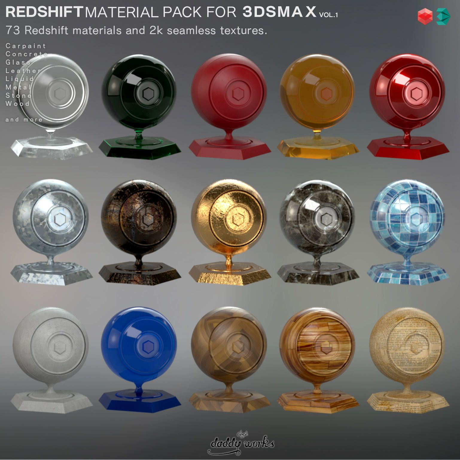 Free Download Redshift Material Pack For-3dsmax | Textures