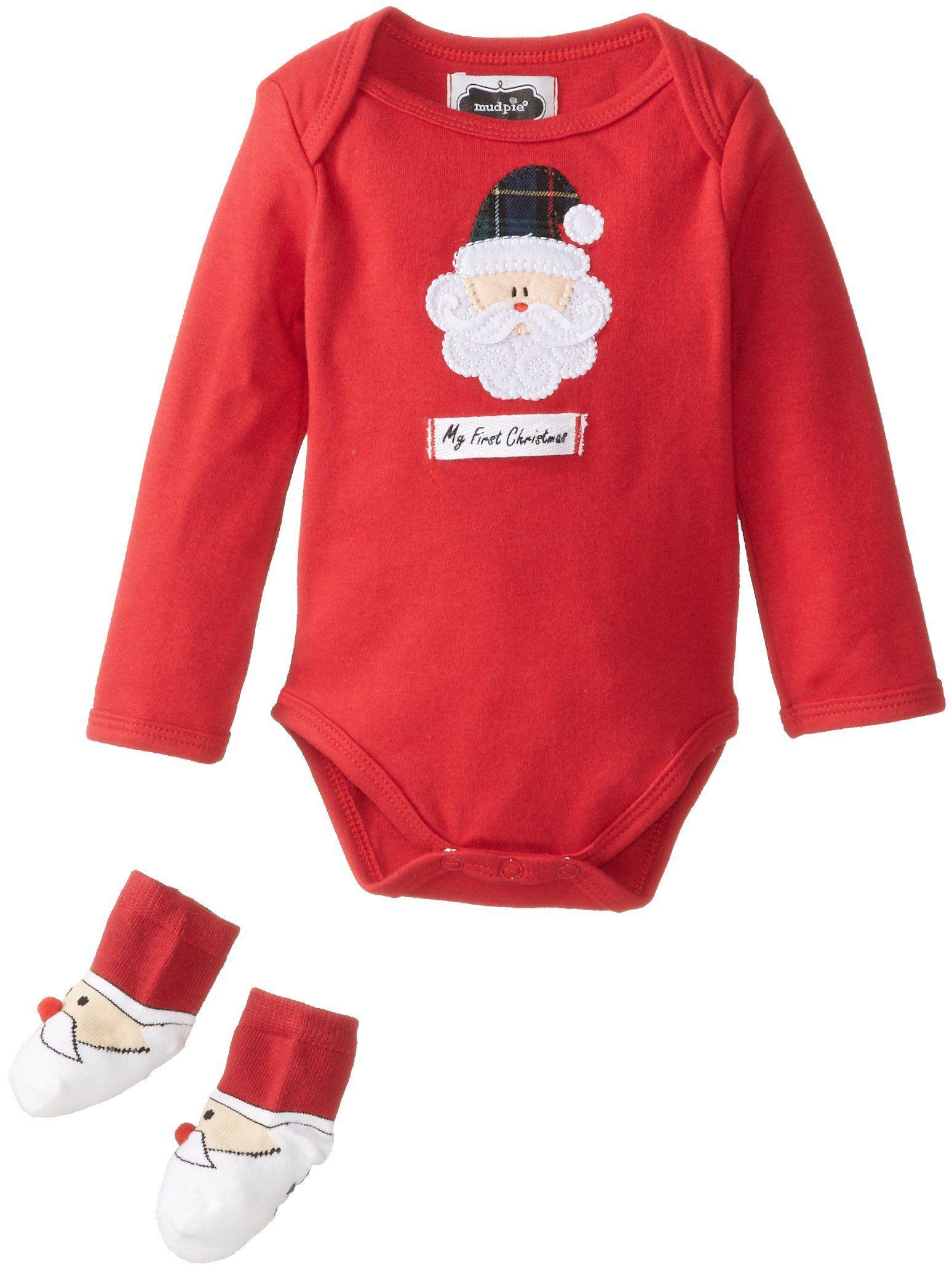 mud pie unisex baby newborn my first christmas boxed set red 0 - Mud Pie Christmas Pajamas