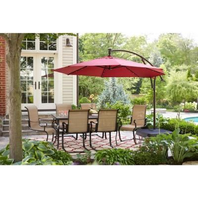 Hampton Bay 11 Ft Led Round Offset Outdoor Patio Umbrella In Chili Red Yjaf052 The Home Depot Patio Patio Umbrella Offset Patio Umbrella