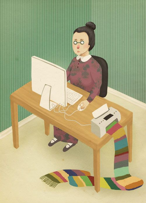 Jennifer iLETT.  This illustration depicts the efforts of elderly people to keep up with rapidly advancing technology.