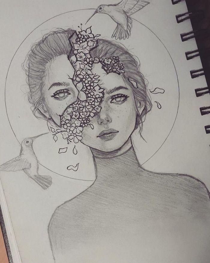 Schwarz-Weiß-Skizze eines Mädchens, Kopf gespalten, Blume kommt aus dem Kopf, Fac #face
