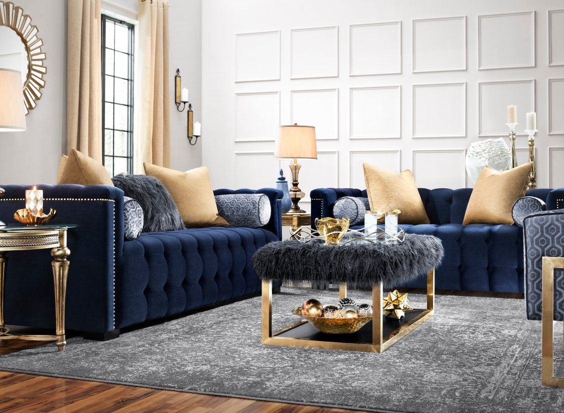 Pin On Bring In The New Year #navy #blue #and #gold #living #room #decor