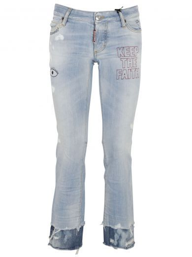 DSQUARED2 Dsquared2 Blue Flare Embroidered Jeans dsquared2 cloth https
