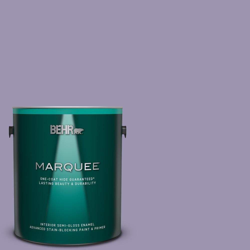 Behr Marquee 1 Gal S570 4 Night Music One Coat Hide Semi Gloss Enamel Interior Paint And Primer In One Behr Marquee Interior Paint Behr