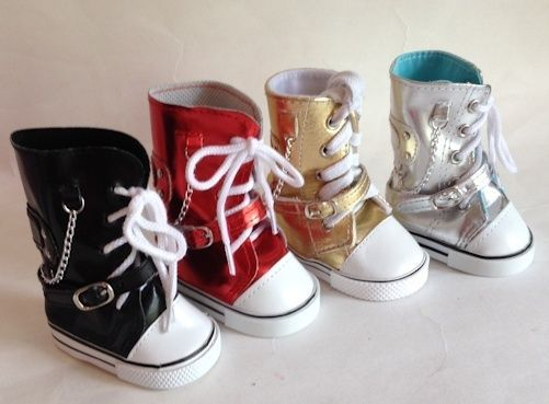 "Metallic Sneaker Boots Black Gold Red Silver for 18/"" Doll"