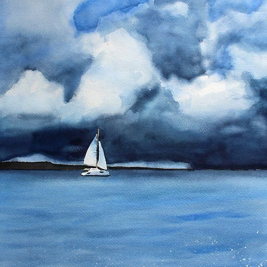 Sailboat With Thunderclouds Fine Art Watercolor Original Painting