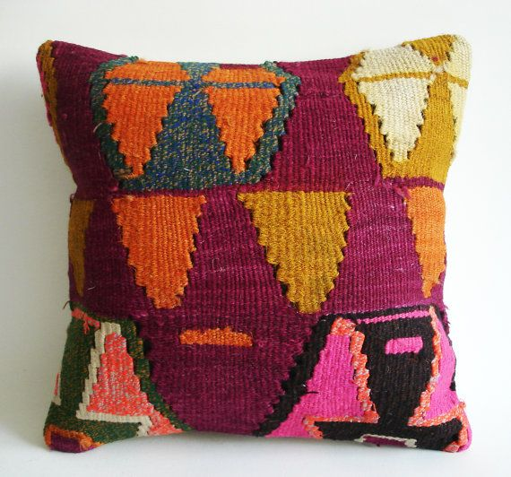 Sukan Handwoven Vintage Turkish Kilim Pillow Cover