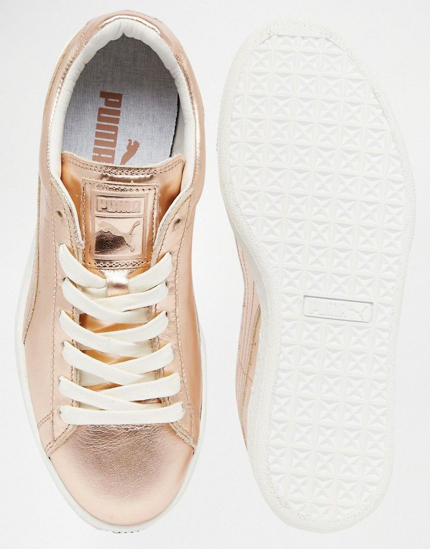 more photos 0eea0 a3286 Puma Basket Sneakers In Rose Gold Metallic | Puma | Rose ...