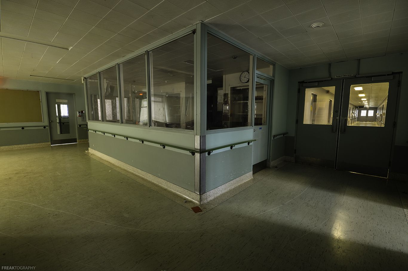 Nurses station and hallways inside the geriatric ward of a