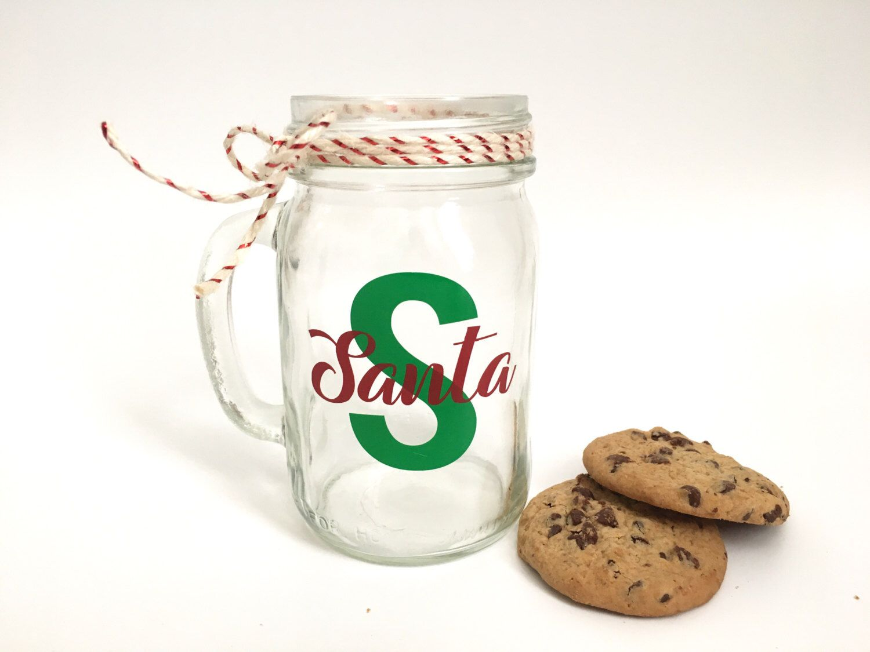 Santa milk mug milk for santa mason jar mug by letterflydesigns