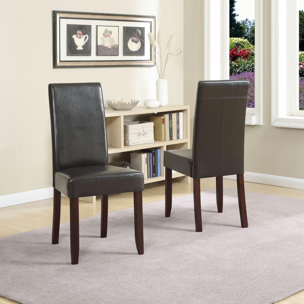 Simpli Home Acadian Contemporary Parson Dining Chair Set Of 2 In