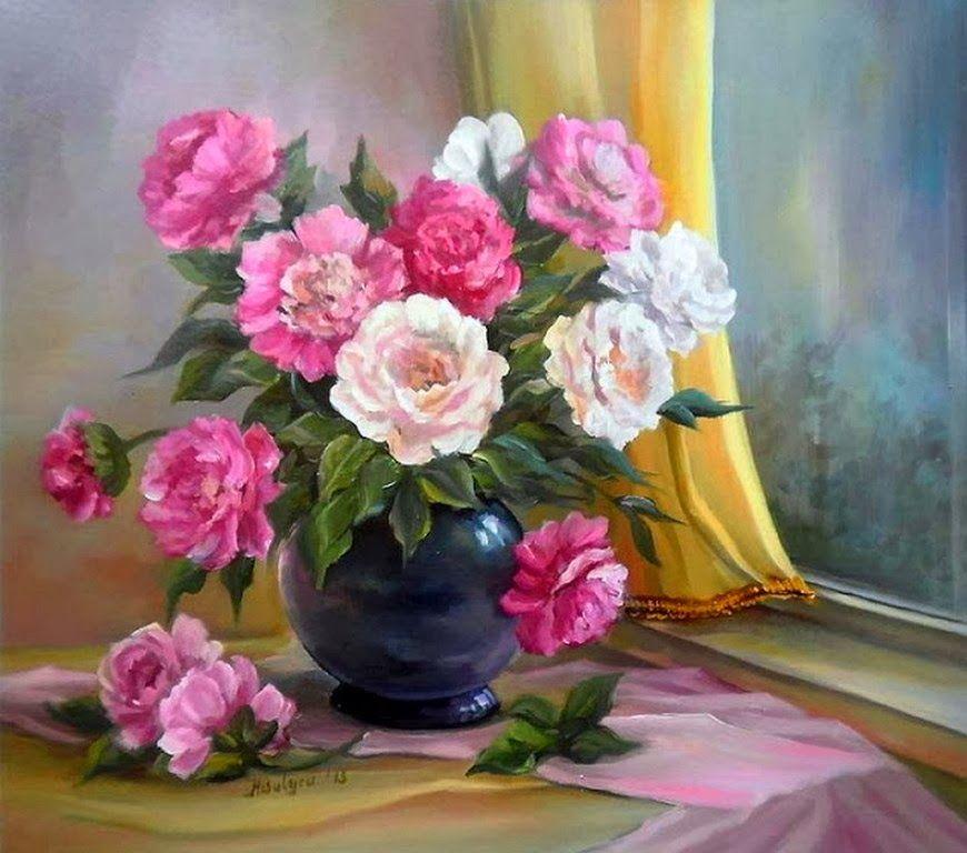 Jarrones Con Flores Pintadas Al Oleo Silk Embroidery Pintura De