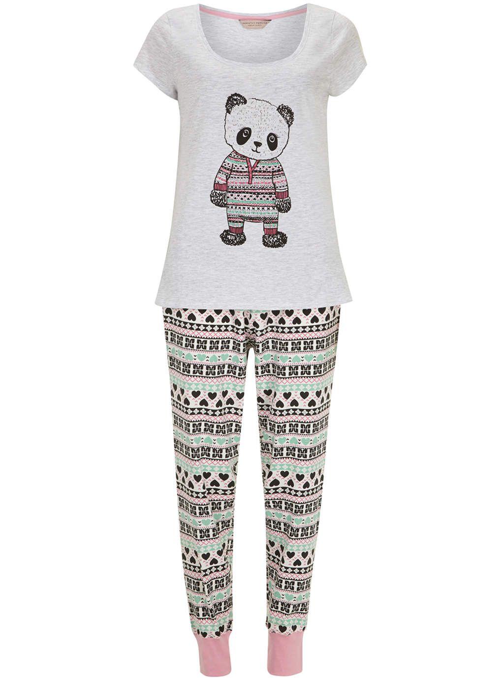 b33924a5e Cream Panda Legging Pyjama Set - Nightwear - Clothing - Dorothy ...