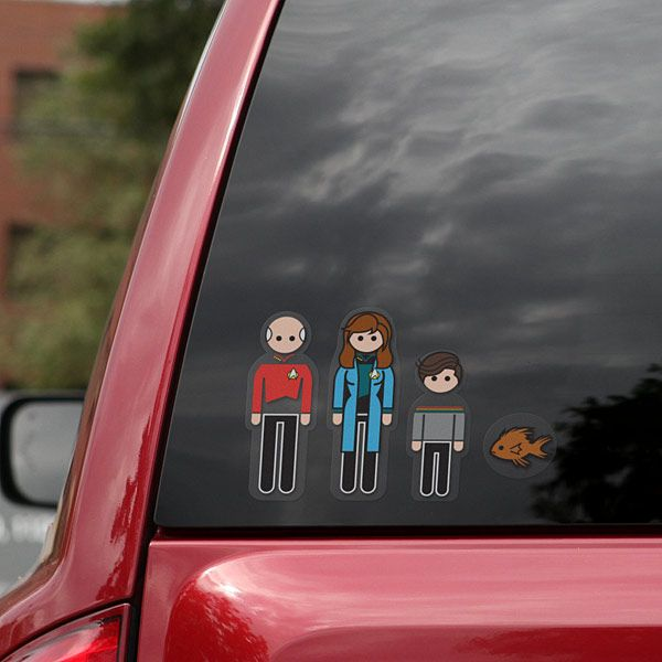 Star Trek The Next Generation Family Car Decals Family Car - Car window decals near mestar trek family car decals thinkgeek