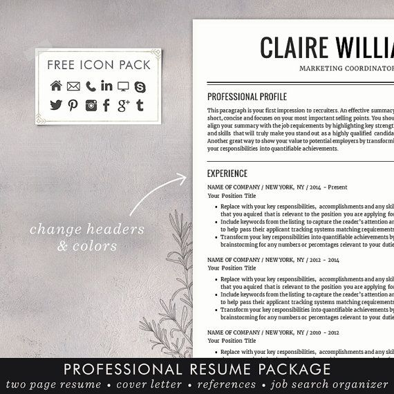 Resume  Cv Template Free Cover Letter Instant Download Mac  Cv