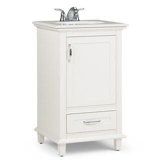 Newton 20 Inch Bath Vanity In Soft White With Bombay White