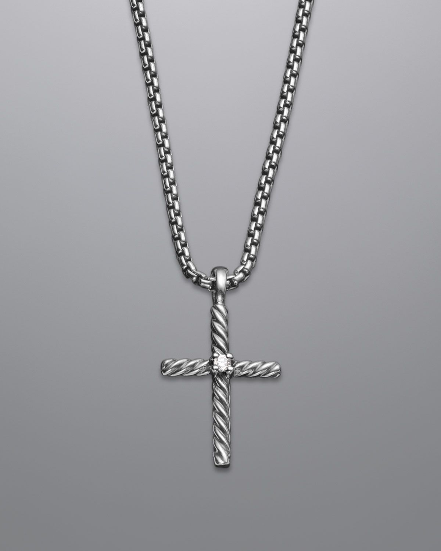 e641da3f8e24 David Yurman Small Diamond Cable Classics Cross Necklace - Neiman Marcus
