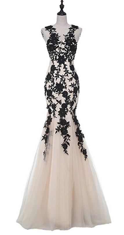 Schwarze Meerjungfrau Abendkleid, Spitze Applikationen Tüll formelles Kleid, lang   – The big day,
