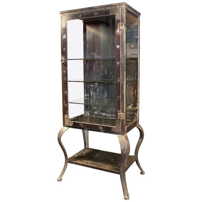 Antique Metal Glass Doctor S Medical Cabinet With Cabriole Legs And 3 5 16 Glass Shelves V Glass Shelves Decor Vintage Industrial Storage Wine Glass Shelf