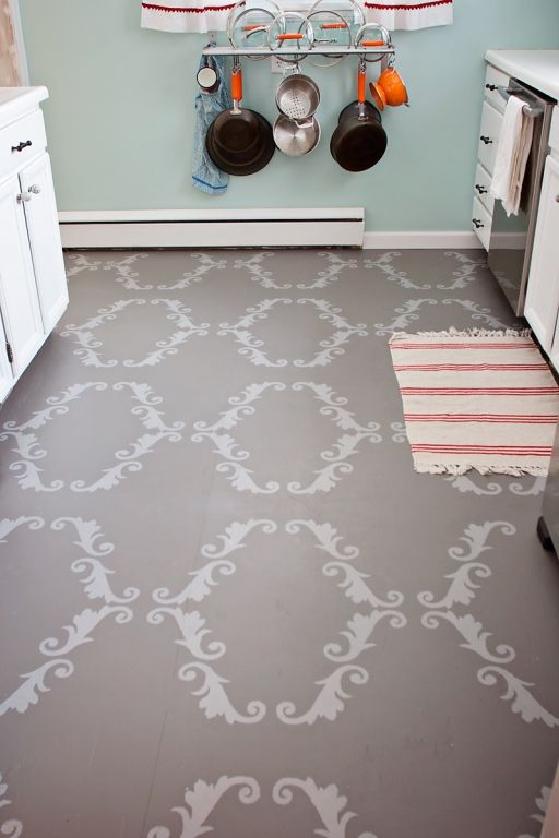 Painted Ply Wood Sub Floor Totally Doing This In My Bathroom With Images Painted Floors Stenciled Floor Flooring